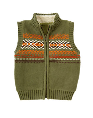 Toddler Boys Dark Olive Green Fair Isle Zip Sweater Vest by Gymboree
