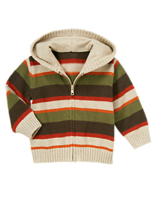 Toddler Boys Dark Olive Green Stripe Stripe Hooded Zip Sweater by Gymboree
