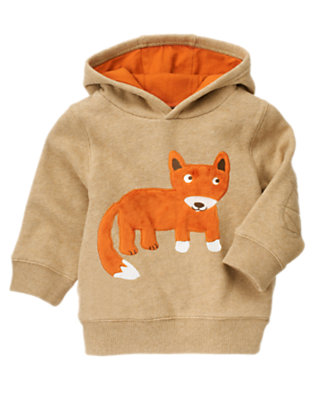 Tan Heather Fox Hoodie by Gymboree