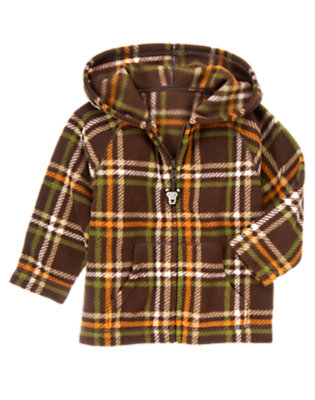 Chocolate Brown Plaid Plaid Microfleece Zip Hoodie by Gymboree