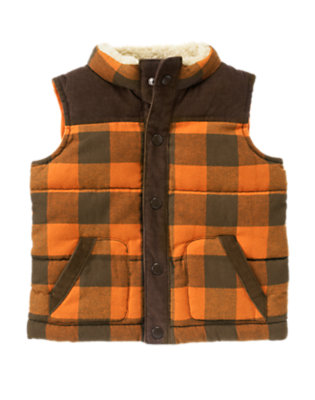 Orange Check Plaid Flannel Corduroy Vest by Gymboree