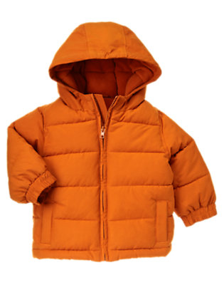 Toddler Boys Orange Hooded Puffer Jacket by Gymboree
