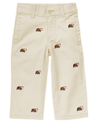 Light Khaki Bear Embroidered Khaki Pant by Gymboree