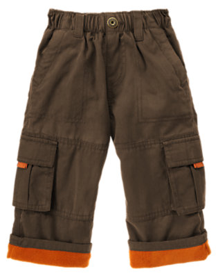 Toddler Boys Chocolate Brown Microfleece Lined Cargo Pant by Gymboree