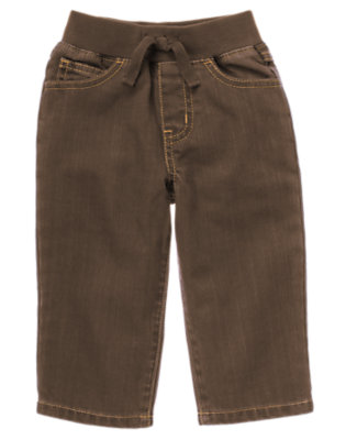 Brown Denim Pull-On Brown Denim Pant by Gymboree