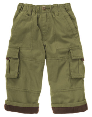 Toddler Boys Dark Olive Green Microfleece Lined Cargo Pant by Gymboree