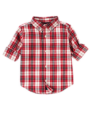 Holiday Red Plaid Plaid Shirt by Gymboree