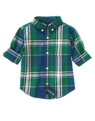 Spruce Green Plaid Plaid Shirt by Gymboree