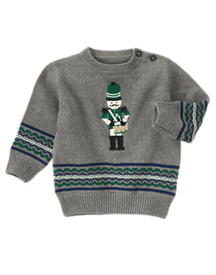 Toddler Boys Heather Grey Nutcracker Fair Isle Sweater by Gymboree
