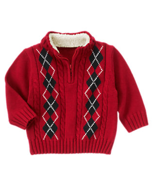 Holiday Red Argyle Cable Half Zip Sweater by Gymboree