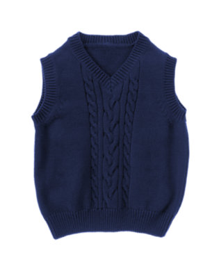 Toddler Boys Northern Blue Cable Sweater Vest by Gymboree