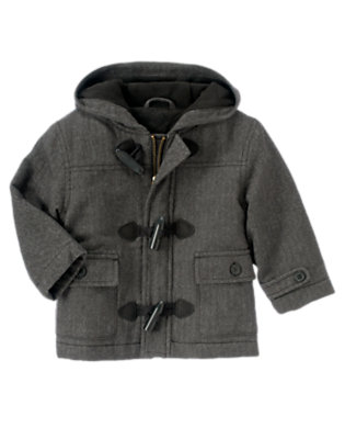 Grey Herringbone Hooded Herringbone Toggle Coat by Gymboree