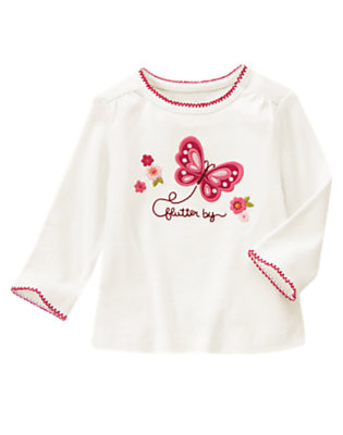 Ivory Flutter By Long Sleeve Tee by Gymboree