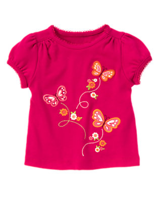 Raspberry Pink Butterfly Flower Tee by Gymboree
