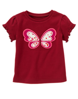 Pomegranate Red Floral Butterfly Tee by Gymboree