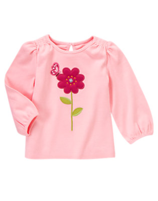 Sweet Pink Gem Button Flower Long Sleeve Tee by Gymboree