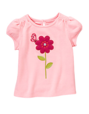 Sweet Pink Gem Button Flower Tee by Gymboree