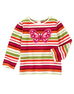 Fern Green Stripe Butterfly Stripe Tee by Gymboree