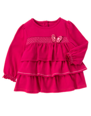 Raspberry Pink Butterfly Tiered Top by Gymboree