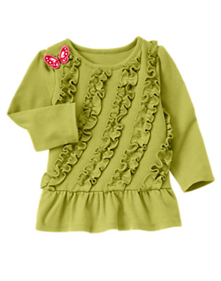 Fern Green Butterfly Ruffle Top by Gymboree