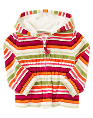 Fern Green Stripe Stripe Velour Hoodie by Gymboree