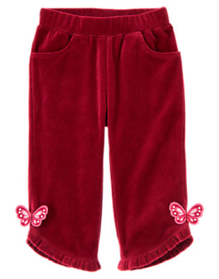 Pomegranate Red Butterfly Velour Ruffle Pant by Gymboree