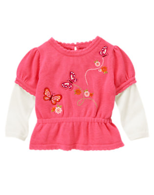 Toddler Girls Flutter Pink Embroidered Butterfly Double Sleeve Sweater by Gymboree