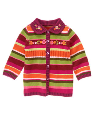 Toddler Girls Pomegranate Red Stripe Embroidered Flower Stripe Sweater Cardigan by Gymboree