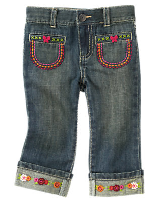 Denim Embroidered Flower Jean by Gymboree