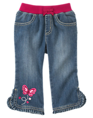 Denim Butterfly Ruffle Hem Jean by Gymboree