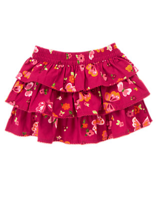 Toddler Girls Raspberry Pink Butterfly Butterfly Print Ruffle Skirt by Gymboree