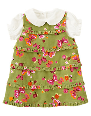 Toddler Girls Fern Green Butterfly Butterfly Corduroy Jumper Two-Piece Set by Gymboree