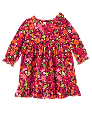 Toddler Girls Pomegranate Red Floral Floral Butterfly Corduroy Dress by Gymboree