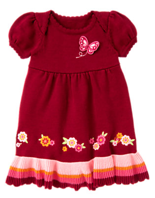 Toddler Girls Pomegranate Red Embroidered Butterfly Sweater Dress by Gymboree