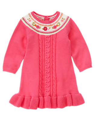 Flutter Pink Embroidered Flower Sweater Dress by Gymboree