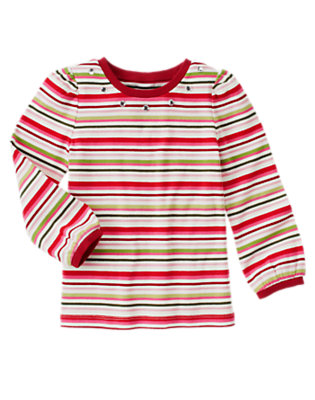 Cozy Pink Stripe Gem Stripe Tee by Gymboree