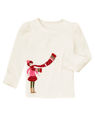 Winter Ivory Girl With Scarf Tee by Gymboree