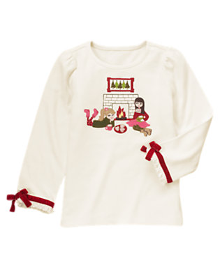 Winter Ivory Girls By Fireplace Bow Tee by Gymboree