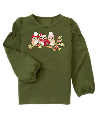 Juniper Green Sequin Owl Tee by Gymboree