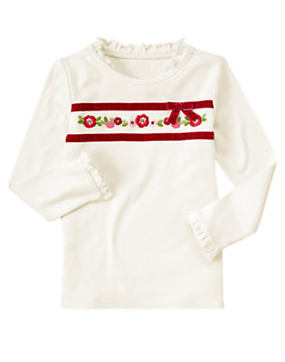 Winter Ivory Sequin Flower Ribbon Tee by Gymboree
