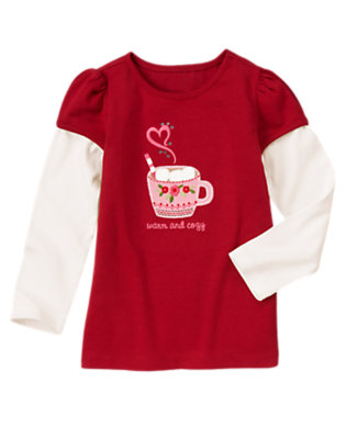 Cranberry Red Gem Hot Cocoa Double Sleeve Tee by Gymboree