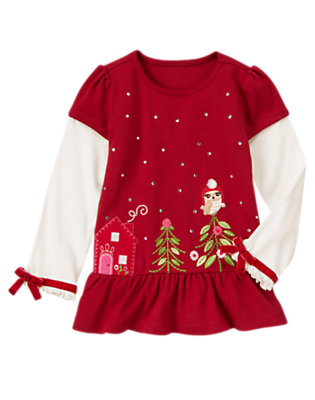 Cranberry Red Gem Owl Tree Double Sleeve Top by Gymboree