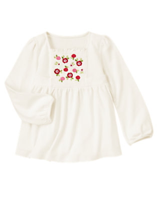 Winter Ivory Sequin Flower Smocked Swing Top by Gymboree