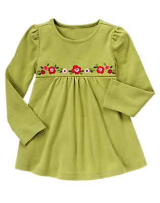 Apple Green Sequin Flower Swing Top by Gymboree