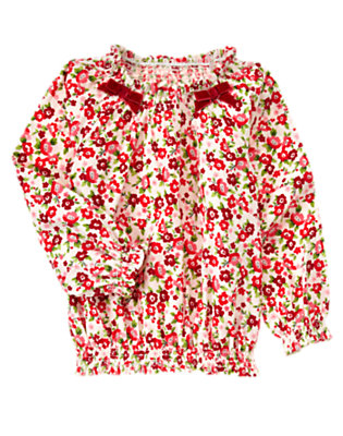 Ivory Floral Bow Flower Corduroy Top by Gymboree