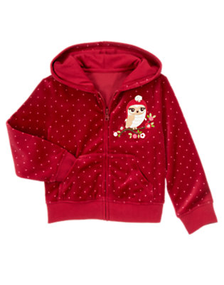 Girls Cranberry Red Sequin Owl Dot Velour Hoodie by Gymboree