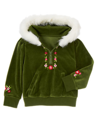 Girls Juniper Green Flower Faux Fur Velour Hoodie by Gymboree