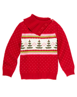 Girls Cheery Red Fair Isle Button Neck Fair Isle Sweater by Gymboree