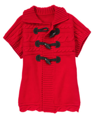Girls Cheery Red Cable Toggle Sweater Tunic by Gymboree