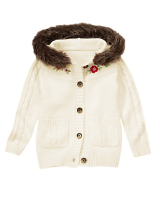 Winter Ivory Sequin Flower Faux Fur Sweater Cardigan by Gymboree